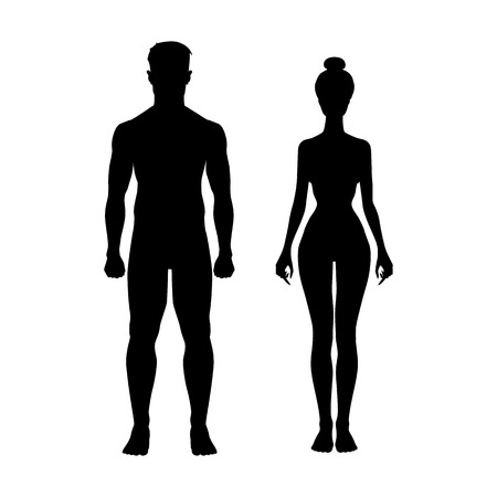 nude female figure: man and woman icon body vector figure sport  art