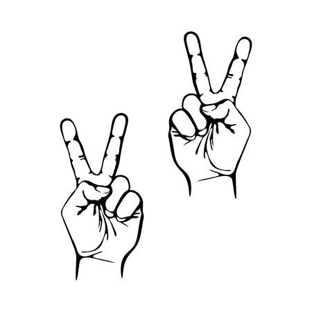 simbolo de la paz: Victoria o s�mbolo voto vector icono muestra de la mano del arte Vectores