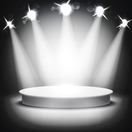 podium: Studio with a podium and spotlights vector grey show light art