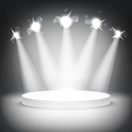 Studio mit einem Podium und Spots Vektor-grau zeigen Lichtkunst