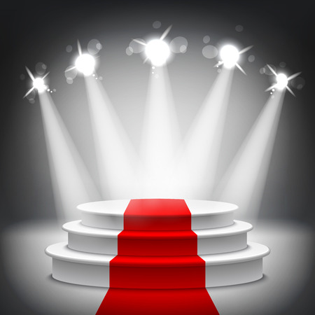 awards: Illuminated stage podium with red carpet for award ceremony vector illustration