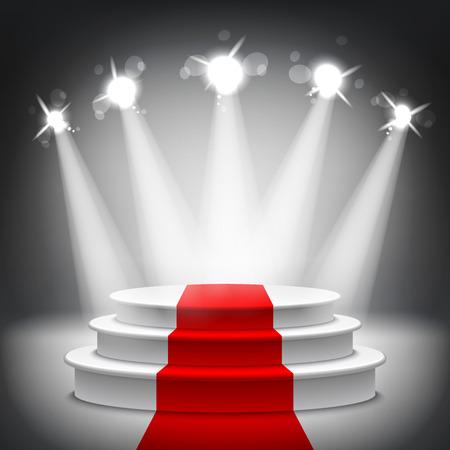 Podio illuminato della fase con tappeto rosso per l'illustrazione di vettore di cerimonia di premiazione Archivio Fotografico - 37930723