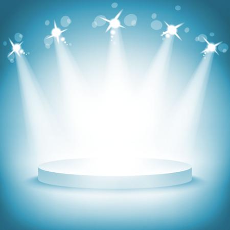 照らされた賞式ベクトル イラスト アート ステージ表彰台を獲得
