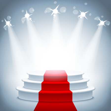 spotlight white background: Illuminated stage podium with red carpet for award ceremony vector illustration