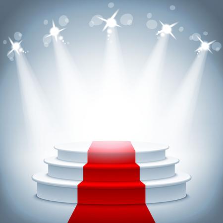 cortinas rojas: Podio escenario iluminado con alfombra roja para la adjudicación ilustración vectorial ceremonia