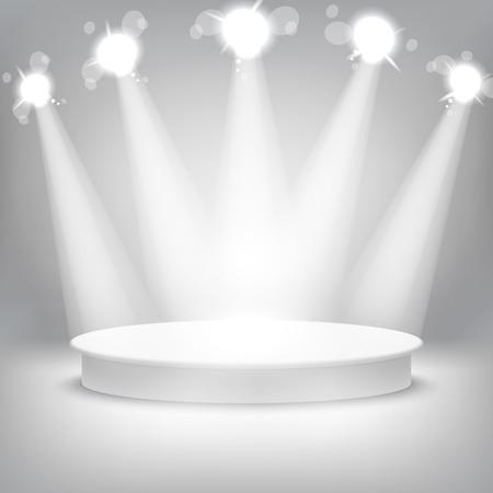 spotlight on wall: Studio with a podium and spotlights vector grey show light art