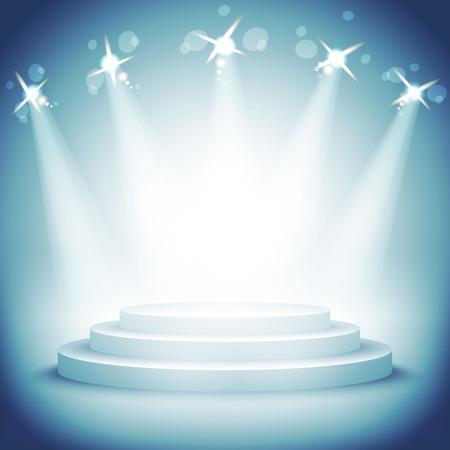 Illuminated stage podium for award ceremony vector illustration art