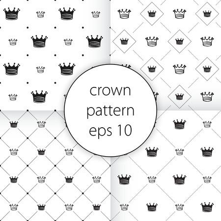クラウンと灰色のシンプルなシームレスなベクター パターン設定ベクトル アイコン