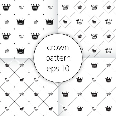 royals: vector icons set on gray Simple seamless vector pattern with crown