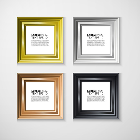 art gallery: Picture frame. Photo art gallery on vintage wall. Illustration