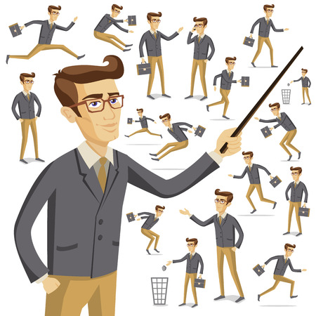 young businessman: Flat style modern people in casual clothes icons situations web template infographic vector icon set. Men women lifestyle icons. Black white, young old, businessman and teacher, hipster sexy beast.