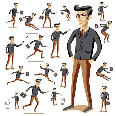 hommes et femmes: Appartement de style les gens modernes dans des v�tements d�contract�s ic�nes situations mod�le de vecteur web infographie icon set. Hommes femmes mode de vie ic�nes. Blanc noir, jeune vieux, homme d'affaires et enseignant, hippie sexy beast.