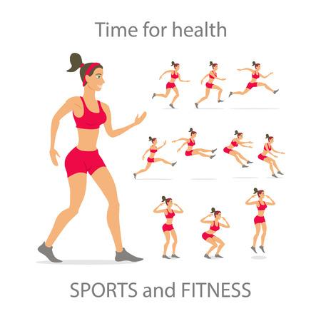 cellulit: Különböző pózok, sportos tánc lány piros sport nadrág, fekete színű, rövid frizurát. Cartoon lapos minimalizmus, kölyök stílus karakter, vektoros illusztráció sor.