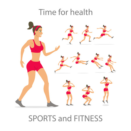 aerobics class: Different poses, sporty dancing girl in red sports pants, black color short hairstyle. Cartoon flat minimalism, kid style character, vector illustration set.