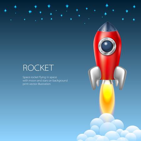 booster: Rocket ic�ne technologie vecteur d'espace de vaisseau spatial art symbole de feu illustration navire de bande dessin�e de la flamme Illustration