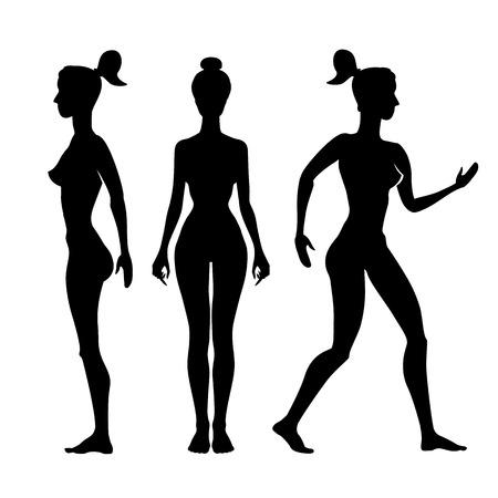 Vector silhouette di una donna su uno sfondo bianco arte