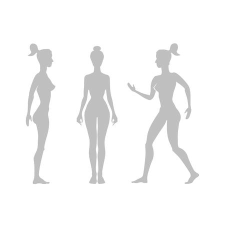 Vector la siluetta di una donna su un'arte bianca della priorità bassa