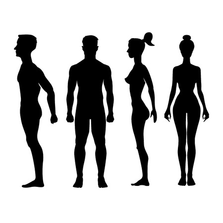 Colección de siluetas de hombre y mujer en la vista frontal y lateral. Ilustración vectorial, aislado en el fondo blanco Foto de archivo - 39526344