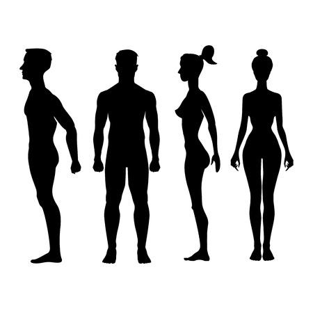 hombre desnudo: Colecci�n de siluetas de hombre y mujer en la vista frontal y lateral. Ilustraci�n vectorial, aislado en el fondo blanco