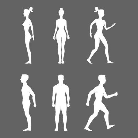 Raccolta di sagome di uomo e donna nella vista frontale e laterale. Illustrazione vettoriale, isolato su sfondo bianco Archivio Fotografico - 39526485