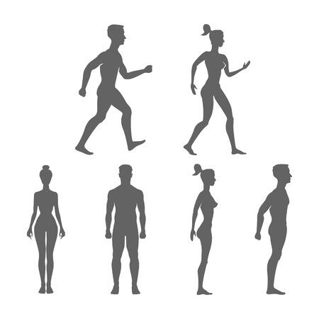Raccolta di sagome di uomo e donna nella vista frontale e laterale. Illustrazione vettoriale, isolato su sfondo bianco