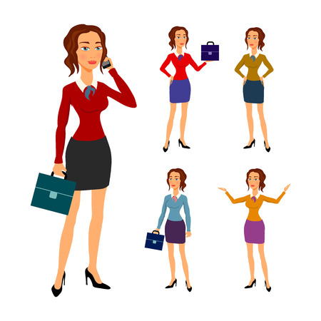 businesswoman skirt: Three different full body illustration of beautiful brunette businesswoman with glasses posing making gestures