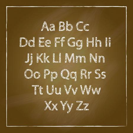 brown wood: Brown Wood school desks set and hand-drawn chalk alphabet art Illustration