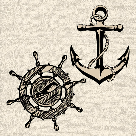 oceanography: Doodle style ships anchor and wheel illustration  Illustration