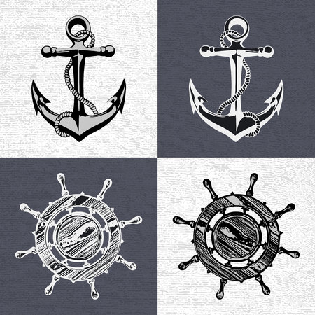 oceanography: Doodle style ships anchor and wheel illustration in vector format Illustration
