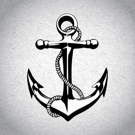 ancla: Ancla náutica icono solated hierro pesado símbolo del arte