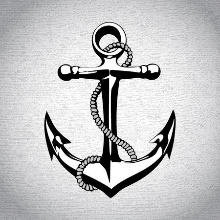 ancre marine: Symbole nautique art de fer lourd Anchor icône Illustration