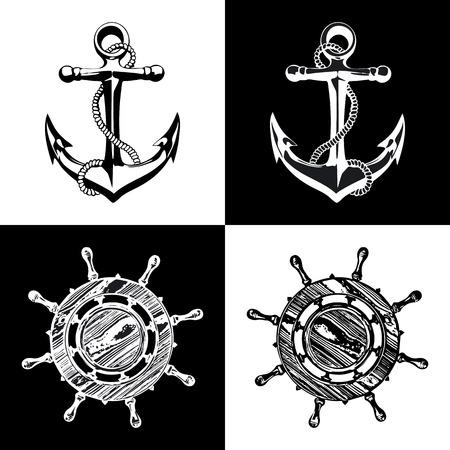 oceanography: Doodle stile navi all'ancora e illustrazione ruota in formato vettoriale Vettoriali