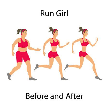 Eenvoudige cartoon van een vrouw joggen, voor en na het sporten begrip run meisje