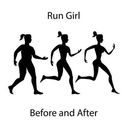 simple girl: Simple cartoon of a woman jogging, before and after exercise concept run girl Illustration