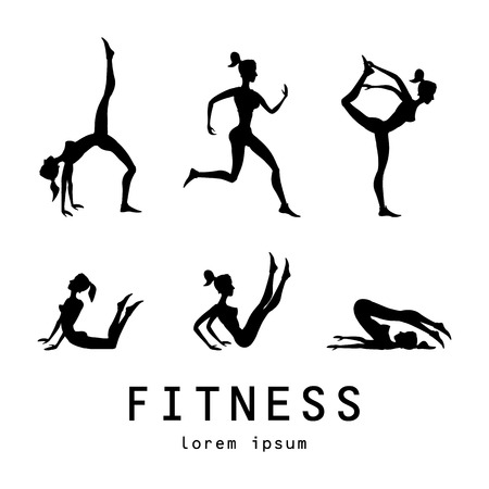 joga: yoga poses silhouettes Vector yoga illustration. set. Women class center studio