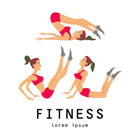 warming up: illustrations of basic stretching exercises related to jogging performed by a beautiful brunette Illustration