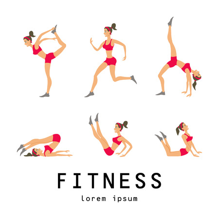 leggings: illustrations of basic stretching exercises related to jogging performed by a beautiful brunette Illustration