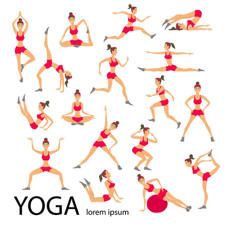stretching: Vector ilustración de yoga. Conjunto Yoga. Los ejercicios de yoga. Mujeres yoga. Clase de yoga, centro de yoga, estudio de yoga. Cartel Yoga. Bosquejo con asanas de yoga. Chica hace ejercicios de yoga. Estilo de vida saludable.
