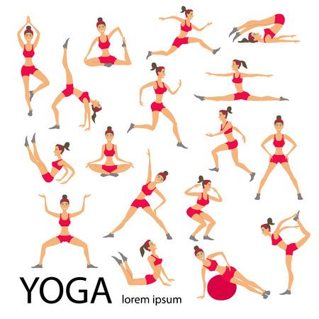Vector yoga illustration. Yoga set. Yoga exercises. Women yoga. Yoga class, yoga center, yoga studio. Yoga poster. Sketch with yoga asana. Girl does yoga exercises. Healthy lifestyle. Vettoriali