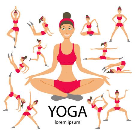 Vector yoga illustration. Yoga set. Yoga exercises. Women yoga. Yoga class, yoga center, yoga studio. Yoga poster. Sketch with yoga asana. Girl does yoga exercises. Healthy lifestyle. Illustration