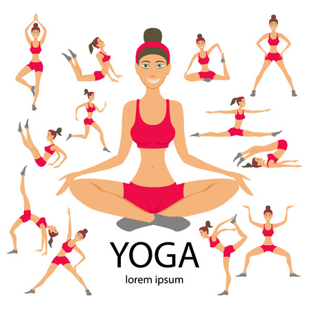 cartoon yoga: Vector yoga illustration. Yoga set. Yoga exercises. Women yoga. Yoga class, yoga center, yoga studio. Yoga poster. Sketch with yoga asana. Girl does yoga exercises. Healthy lifestyle. Illustration