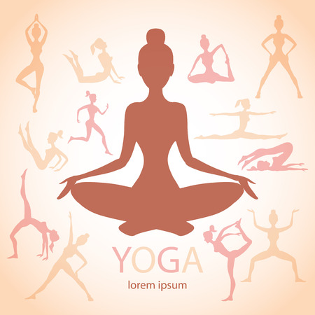 joga: three contours of women in the yoga poses on a beige background