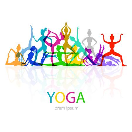 pies bailando: Ilustración vectorial de yoga plantea Mujer arte color silueta Vectores