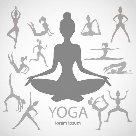 yoga poses silhouettes  vector body pose female art black Illustration