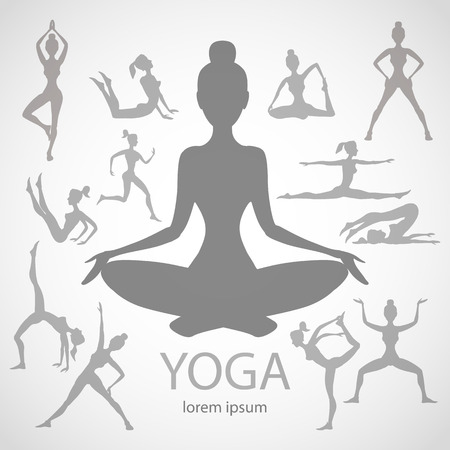 meditate: yoga poses silhouettes  vector body pose female art black Illustration
