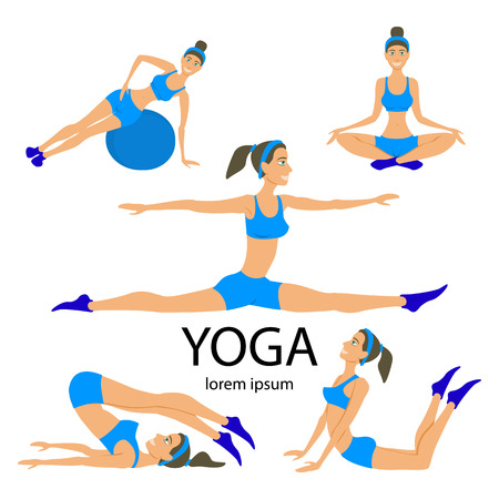 yoga: Vector yoga illustration. Yoga set. Yoga exercises. Women yoga. Yoga class, yoga center, yoga studio. Yoga poster. Sketch with yoga asana. Girl does yoga exercises. Healthy lifestyle. Illustration