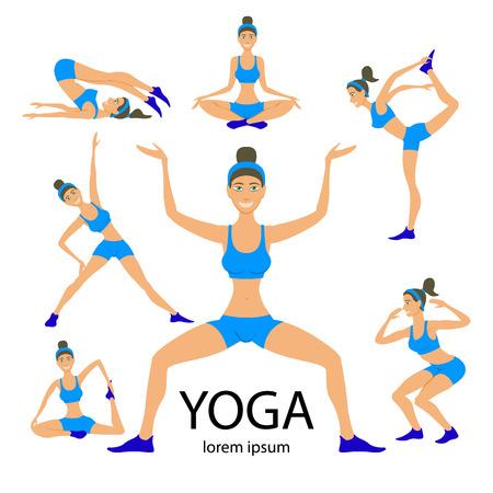 yoga poster: Vector yoga illustration. Yoga set. Yoga exercises. Women yoga. Yoga class, yoga center, yoga studio. Yoga poster. Sketch with yoga asana. Girl does yoga exercises. Healthy lifestyle. Illustration