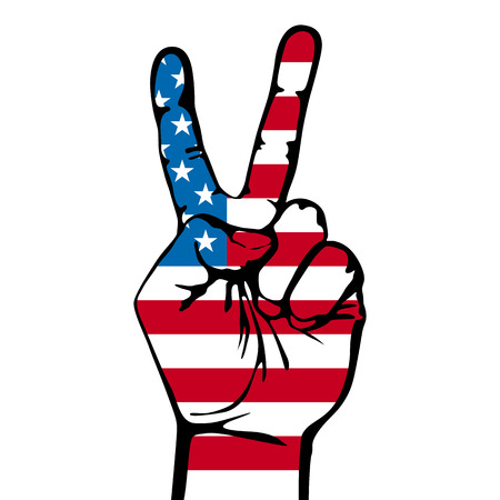 America victory finger , t-shirt graphics, vectors art Illustration