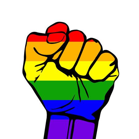 gay men: Tarjeta del vector con la frase de apoyo lgbt. luchar por los derechos de los homosexuales