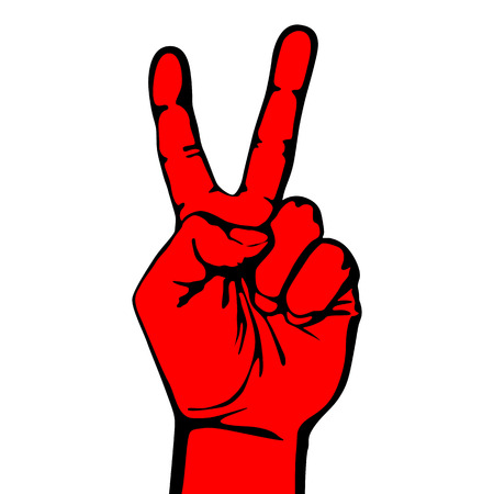 V hand victory symbol vector  design template. Creative win icon. art Ilustração